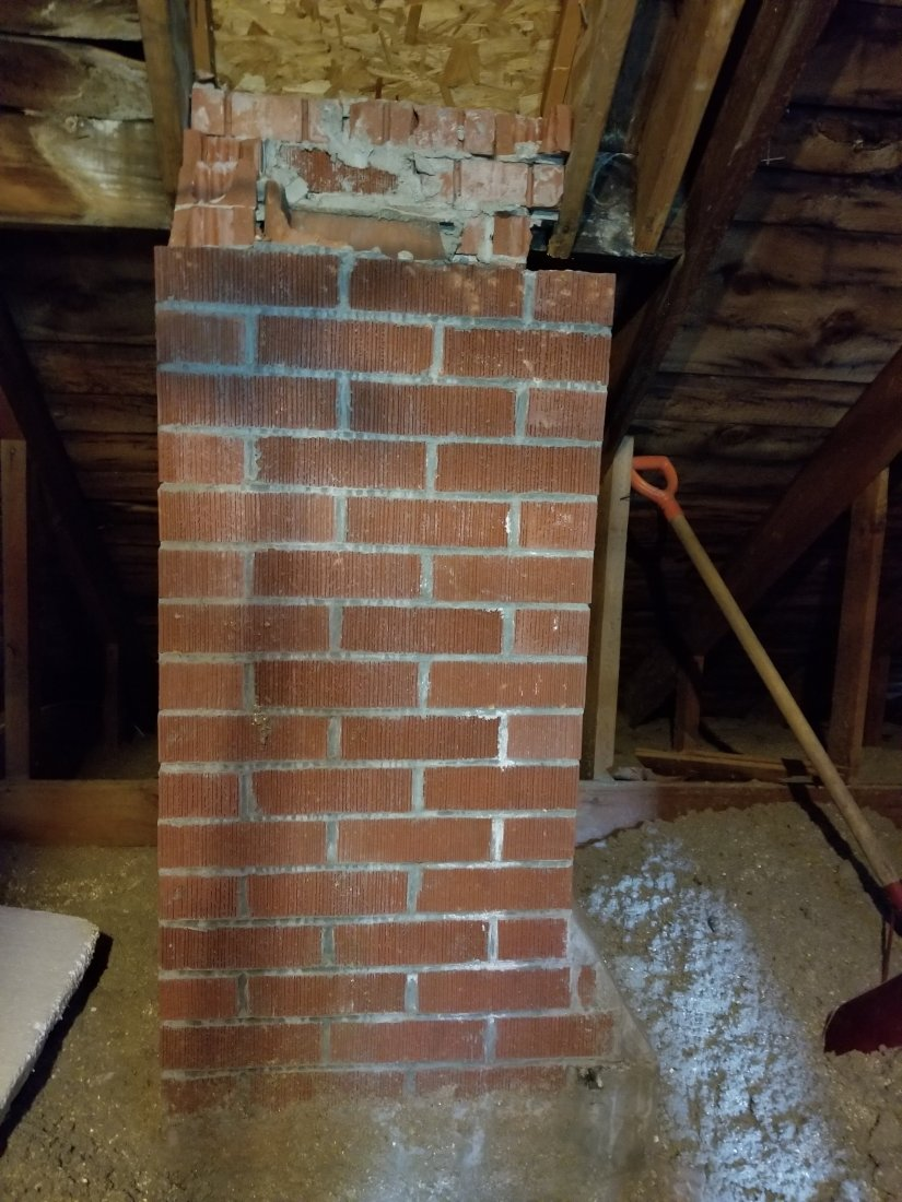 Chimney, old house, removal